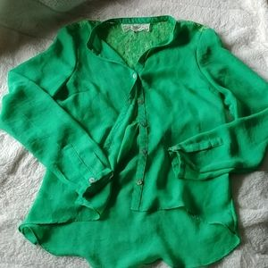 Pink Martini button up blouse lime green Size S
